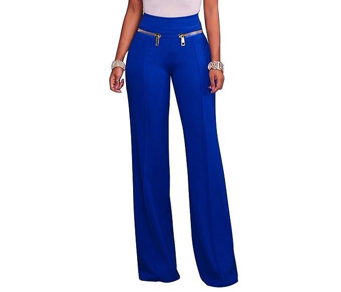 ad3310d9a VERTTEE Women High Waist Zipper Loose Full Length Women Pants Casual Wide  Leg Long Women's Pants Blue S at Amazon Women's Clothing store: