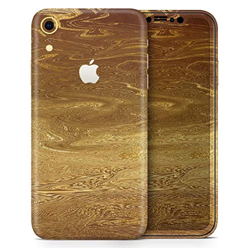 Decal Foils - Molten Gold Digital Foil Swirl V7 - Design Skinz Thin Vinyl Decal Wrap Cover for Apple iPhone XR 2-Pack Bundle! Full-Body + Back Glass Skin