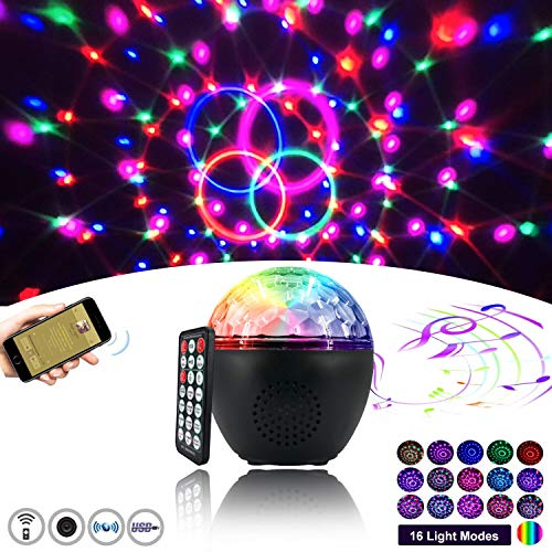 New Listing Bluetooth Disco Ball Light 16-Color Party Lights Strobe Light Sound Activation Strobe Light with Remote Control Stage Light with dimming Party Birthday KTV DJ bar car Holiday Decoration
