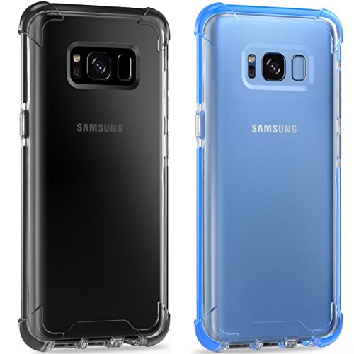 Samusng Galaxy S8 Case,iBarbe Perfect Fits Samsung Galaxy S8 Anti-Slip TPU Slim Protection Premium Clarity Thin Hard Protective Case Covers for Galaxy s8 2017(blue clear+ gray clear)