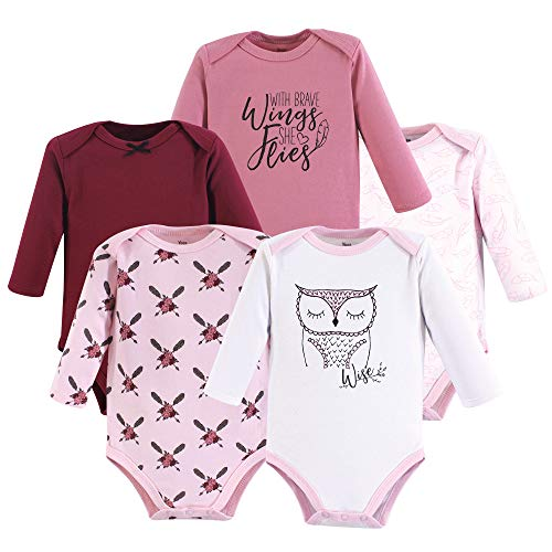 Yoga Sprout Unisex Baby Cotton Bodysuits, Owl 5Pk Long Sleeve 12-18 Months (18M) ()