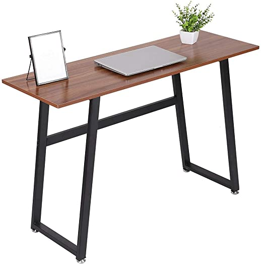 Modern Computer Desk Wood and Metal Writing Desk Home Office Study Table