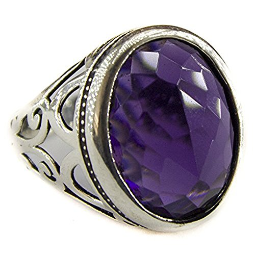 Sterling silver men ring handmade, created-amethyst stone, Ottoman empaire tugram, Express Shipping