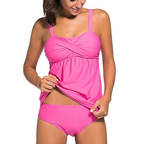 Eiffel Women's 2pcs Swing Tankini Top Swimsuit Shirred Bandeau Swimdress with Triangular Bottom
