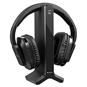 AudioMX HG-21B Wireless RF Over-Ear Headphones for TV with 2.4 GHz Digital Transmitter Charging Dock, 6.3 mm and 3.5 mm Audio Connector, RCA, Wired Optional