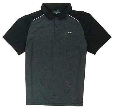 Calvin Klein Performance UV Protection Moisture Wicking Polo Shirt (X-Large, Black/Black)