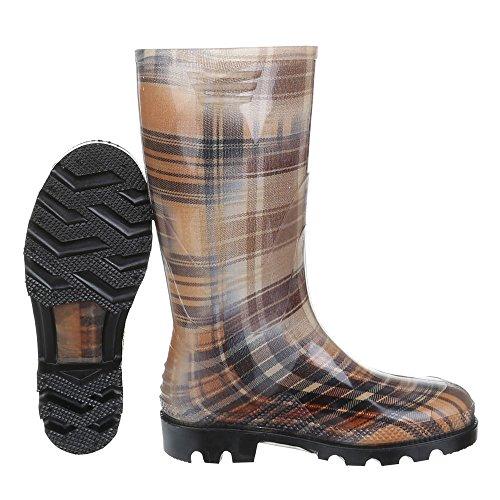 Womens Shoes, GST F901P Rain Boot Wellington Boots Multicolor - Braun Multi 17