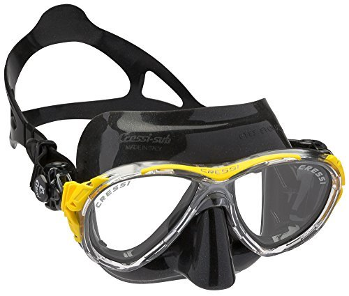 Cressi Eyes Evolution Scuba Diving Snorkeling Mask (Made in Italy), Black/Yellow by Cressi by Cressi