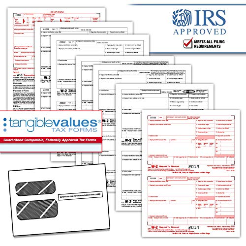 Tangible Values W-2 Laser Forms (6-Part) Kit with Envelopes for 50 Employees (2019) (6 Part W2 Forms)