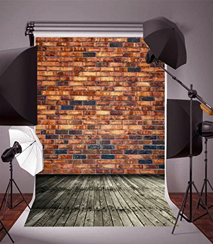 Leyiyi 5x7ft Vintage Brown Brick Wall Backdrop Western Party Cowboy Rock Music Wood Floor Retro Building Grunge Graffiti Street Lay Flat Photography Backdrops Baby Shower Photo Studio Vinyl Props