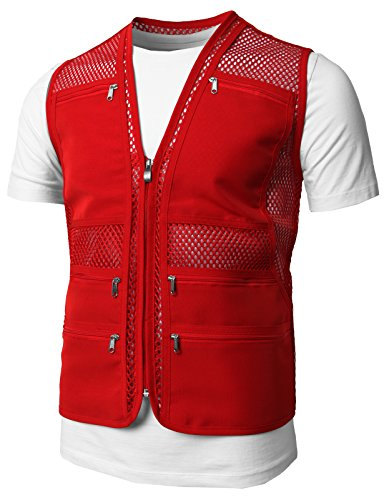 H2H Mens Casual Work Utility Hunting Travels Sports Mesh Vest with Pockets RED US M/Asia L (KMOV086)