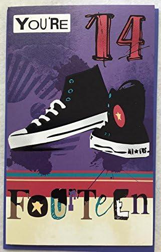 skateboarder Age 14 fourteen Happy Birthday greetings card