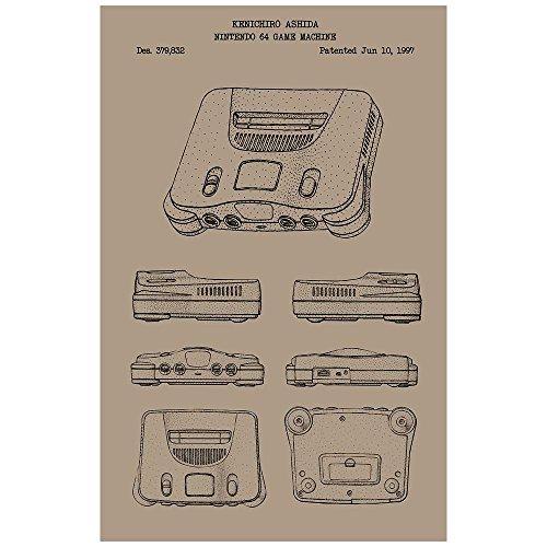 """Inked and Screened SP_VIDG_379,832_KR_17_K Nintendo 64 Machine N64 Game Console Silk Screen Print, 11"""" x 17"""" Kraft - Black Ink"""