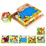 Lewo Wooden Cube Pattern Blocks Animals Jigsaw Puzzles