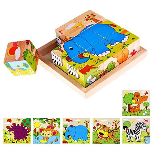 Lewo Wooden Cube Pattern Blocks Animals Jigsaw Puzzles Toddl