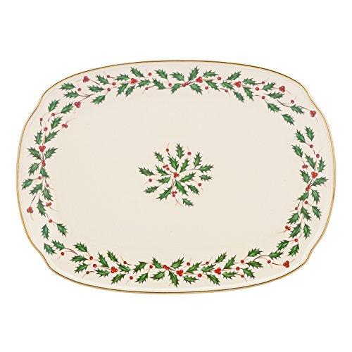 "Lenox Holiday Oblong Platter,Ivory,15.25"""