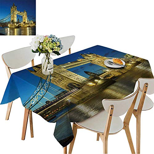 UHOO2018 Fitted Polyester Tablecloth   Tower Bridge from The North Bank at Dusk,London,UK Square/Rectangle Washable for Tablecloth,52 x 108inch