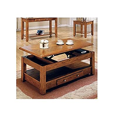 LIFT TOP COFFEE TABLE OAK WITH STORAGE DRAWERS AND BOTTOM SHELF - Bring style and function within your home with this collection. Featuring a drawer for storage, a lift top, a bottom Shelf for magazines and a beautiful oak finish, this cocktail table is t