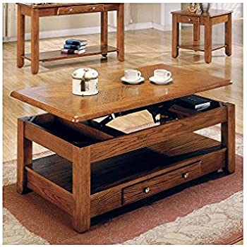 Amazoncom LIFT TOP COFFEE TABLE OAK WITH STORAGE DRAWERS AND - Lift top coffee table with storage drawers