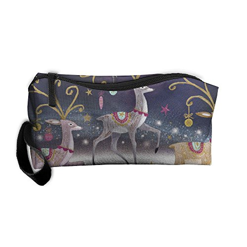 Storage Bags Toiletry Bag Clutch Bag Drug Funny A Trio Of Reindeer Small Cosmetic Bag With (Beaded Trio)