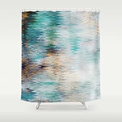 Nydia Shower CurtainsAbstract CurtainTeal Aqua Gold Blue Brownshower Curtain