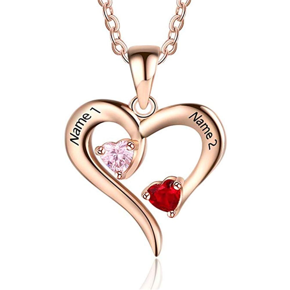 Personalized 2 Names Simulated Birthstones Necklaces 2 Couple Hearts Name Engraved Pendants for Women Girl Moms gift