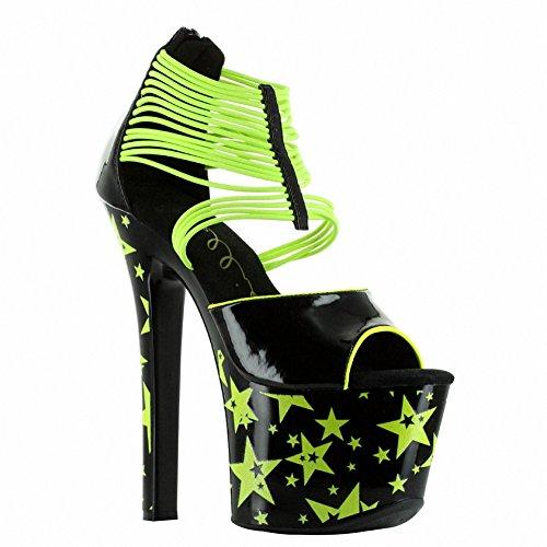 Ellie 711-ELECTRA Womens Sexy Comfortable 7 Neon Stiletoo With Elastic Band Yellow sHvLbqk5I
