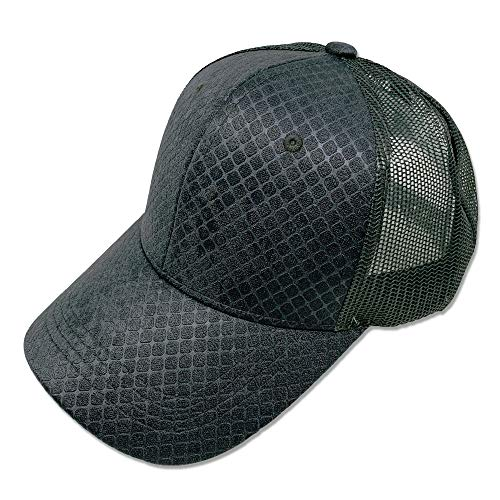 DANKONG Suede Baseball Curved Trucker Hat Classic Unisex 6 Panels Soft Faux Check Pattern Mesh Back Size Adjustable Cap for Driving, Riding, Fishing, Sports, and Daily Use - Grey
