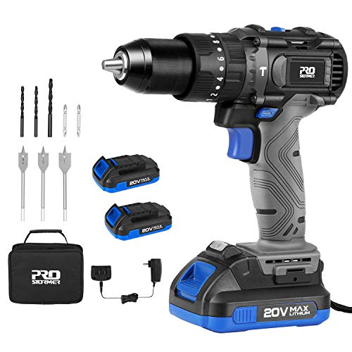 "Cordless Drill Driver Kit, 20V Max Brushless Hammer Drill with 2Pcs 2.0Ah Batteries and Fast Charger, 530 In-lbs Torque, 1/2"" Keyless Metal Chuck, 2-Variable Speed for Drilling Wood, Metal, Concrete"