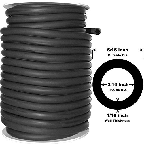 Spearit 50 Feet Black Rubber Latex Tubing 5/16