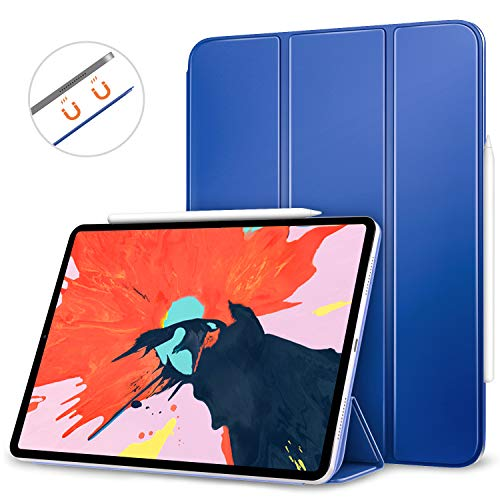 MoKo Smart Folio Case Fit iPad Pro 12.9 2018 - [Support Magnetically Attach Charge/Pair] Slim Lightweight Smart Shell Stand Cover, Strong Magnetic Adsorption, Auto Wake/Sleep - Navy Blue