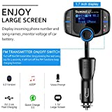 Sumind Wireless Radio Adapter, Car Bluetooth Fm Transmitter, Bluetooth Car Transmitter 1.7 Inch Display, QC3.0/2.4A Dual USB Ports, AUX Input/Output, Mp3 Player with Magnetic Mount and Plate