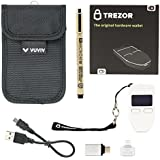 Trezor White Bitcoin Wallet Bundle With VUVIV RFID Pouch, 2 VUVIV USB Adapters for Greater Connectivity & 1 Sakura Archival Ink Pen for Recovery Seed Sheet (5 items)