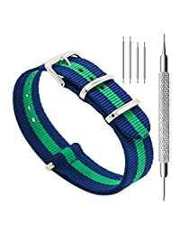 CIVO Watch Bands NATO Premium Ballistic Nylon Watch Strap Stainless Steel Buckle 18mm 20mm 22mm with Top Spring Bar Tool and 4 Spring Bars Bonus (Navy/Shamrock, 20mm)