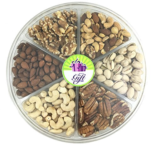 Eva's Gift Universe Mixed Nuts Gift Tray - BEST SELLER Nuts Variety Pack - 6 section with Cashews, Roasted & Salted Almonds, Walnuts, Honey Roasted Pecans, Pistachios and Mixed Nuts