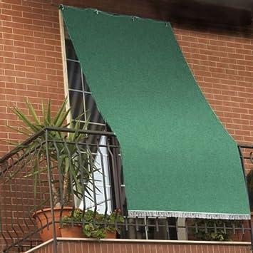 Image ofCortina parasol con anillas para balcón hecha de tela resistente y lavable, color verde, verde