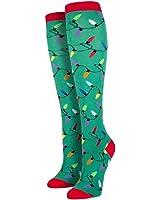 Sock Smith Womens Christmas Lights Knee High Socks-Green-Medium