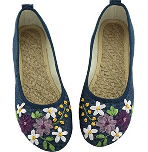 Comfortable On Women Shoes Flat Kenavinca Fabric Embroidered Ballerina Old Sapato Cotton 8 Slip 1 Vintage Linen Blue Flower Feminino Flats Peking vqpYwq