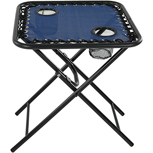 Sunnydaze Folding Sling Side Table with Mesh Drink Holders, Outdoor Patio or Portable Camping Accessory, Navy Blue