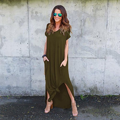 LEvifun Longue Vintage Ete Tunique Vert Sol de Robe Plage Cocktail Robe Chemise au Robe Robe Prom Soiree Maxi Dress Couleur Pure Chic Femme Sundress Robe de Party Coton Sexy qZnYqrfEw