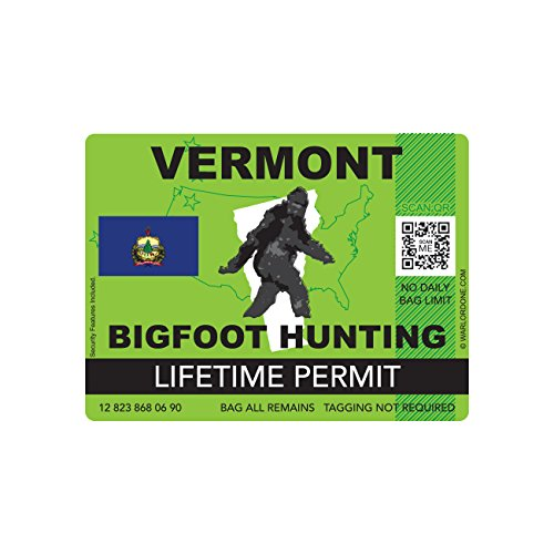 Vermont Bigfoot Hunting Permit Sticker Die Cut Decal Sasquatch Lifetime FA Vinyl