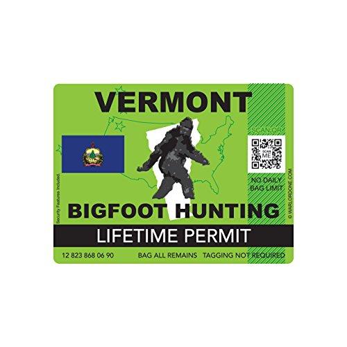 Vermont Bigfoot Hunting Permit Sticker Die Cut Decal Sasquatch Lifetime FA Vinyl