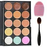 EVERMARKET 15 Colors Professional Concealer Camouflage Makeup Palette Contour Face Contouring Kit + 1 PC Premium Oval Make Up Brush + 1PC Silica MakeUp Washing Brush