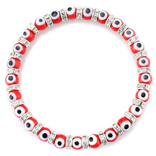 JewelrieShop Turkish Evil Eye Bracelet Murano Glass Beads Beaded Clear Crystal Spacer Bracelet for Women Girls (6mm Red Eye Beads)]()