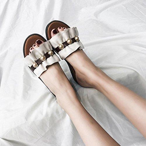 2 7 Toe Skinn Utesko For Sparkly Boho Black Bing Flate Størrelse Perle Sandaler Beige Kvinner Diamante Lolittas Sommer Passe Bredt Glitter Strand Peep Rqgx51Zw