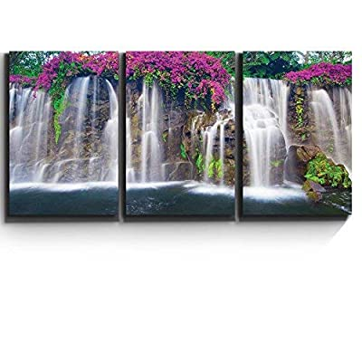 3 Piece Canvas Print - Contemporary Art, Modern Wall Art - Lush Waterfall and Flowers- Giclee Artwork - Gallery Wrapped Wood Stretcher Bars - Ready to Hang 16
