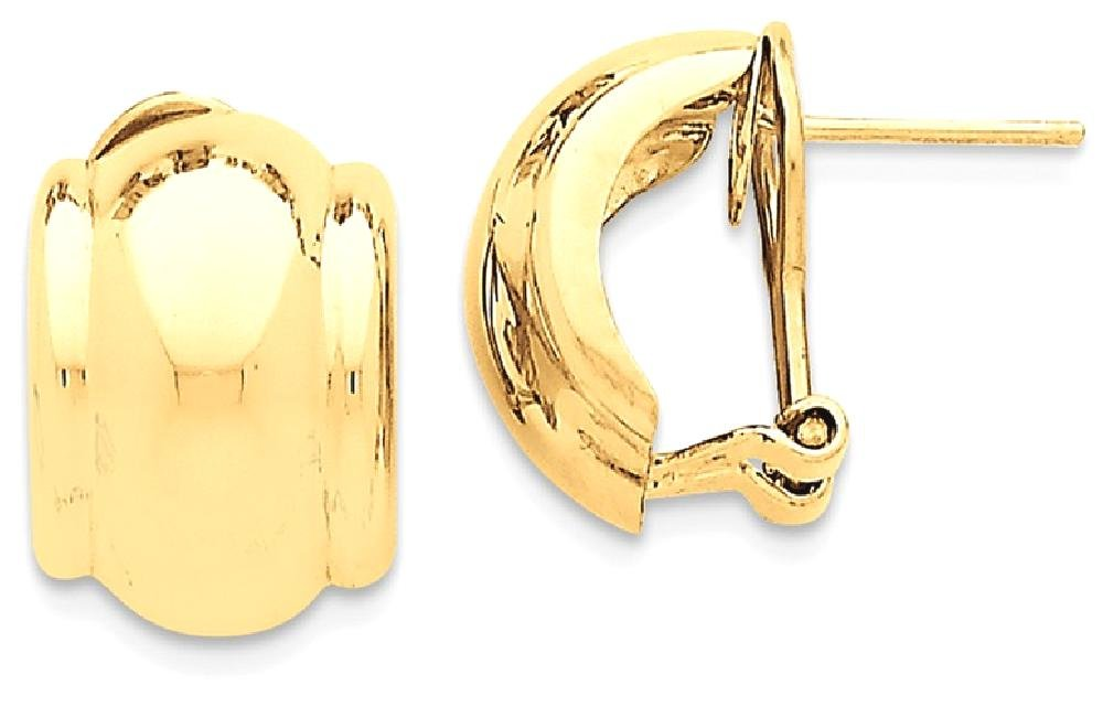 ICE CARATS 14k Yellow Gold Omega Back Post Stud Ball Button Earrings Fine Jewelry Gift Set For Women Heart