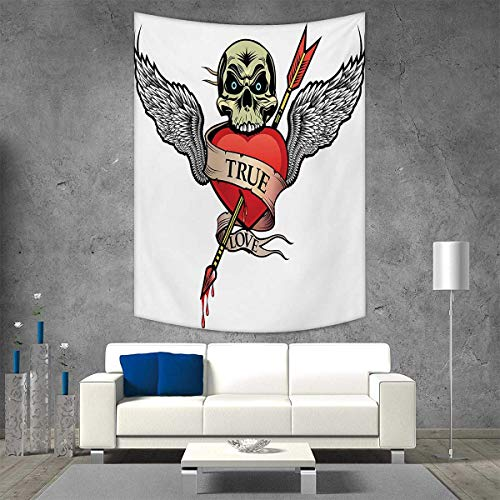 smallbeefly Tattoo Beach Throw Blanket Angel Wings Skull Heart Full Blood Symbol Real Love Valentines Vertical Version Tapestry 40W x 60L INCH Red White Black