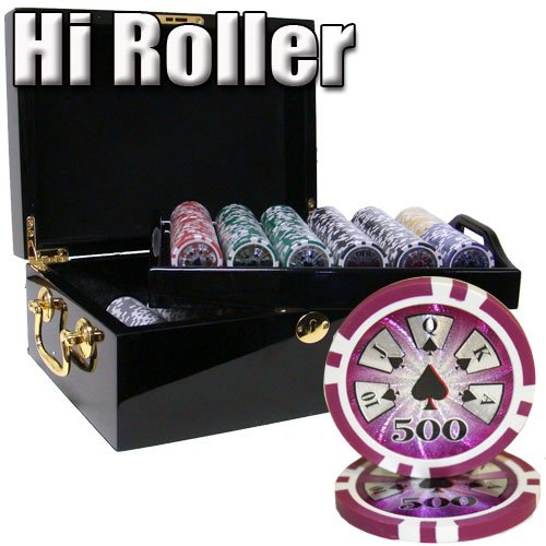 500 Ct Hi Roller 14 Gram Clay Poker Chip Set w/ Black Mahogany Wooden Case - Free Dealer Button and Cards by Brybelly
