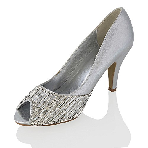 Essex Glam Mujeres Bridal Heels Sparkly Slip On Mid Heel Parte Peep Toe Zapatos Plata